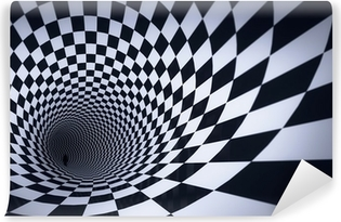 3d cube checkered tunnel Vinyl Wall Mural