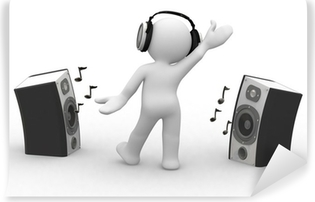 3d human dance with headphone and speakers Vinyl Wall Mural