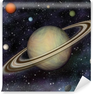 3D Solar System. Saturn and its 7 largest moons. Vinyl Wall Mural