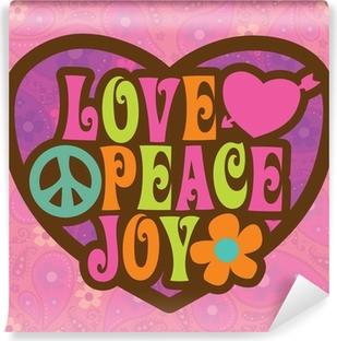 70s Love Peace Joy Illustration Vinyl Wall Mural