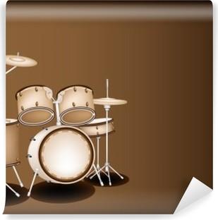 A Beautiful Drum Kit on Dark Brown Background Vinyl Wall Mural