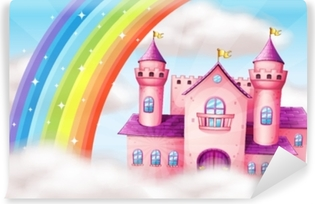 A Beautiful Pastel Castle and Rainbow Vinyl Wall Mural