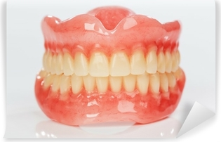 A set of dentures on a shiny white background Vinyl Wall Mural
