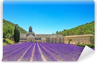 Abbey of Senanque blooming lavender flowers. Gordes, Luberon, Pr Vinyl Wall Mural
