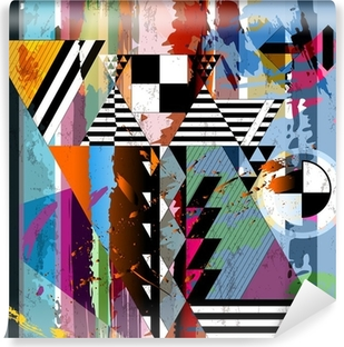 abstract background, with strokes, splashes, stripes and triangl Vinyl Wall Mural