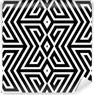 Abstract Black and White ZigZag Vector Seamless Pattern Vinyl Wall Mural