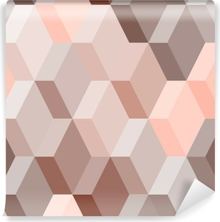 Abstract geometric seamless pattern in pink and brown, vector Vinyl Wall Mural