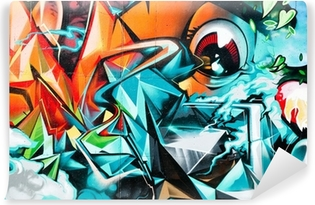 Abstract Graffiti detail on the textured wall Vinyl Wall Mural