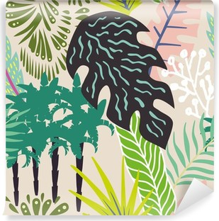 Abstract leaves and palm trees Vinyl Wall Mural