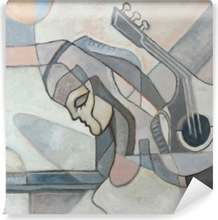 Abstract Painting With Woman and Guitar Vinyl Wall Mural