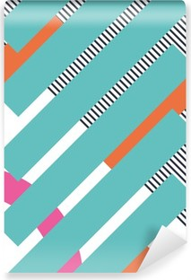 Abstract retro 80s background with geometric shapes and pattern. Material design Vinyl Wall Mural