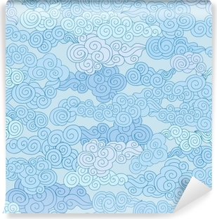 Abstract swirl cloud shapes geometgric tiled pattern in chinese style Sky ornamental background Vinyl Wall Mural