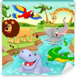 African animals in the jungle. Vinyl Wall Mural