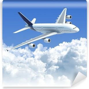 airplane flying over the clouds with clipping path for isolation Vinyl Wall Mural