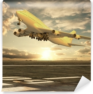 Airplane taking off at sunset Vinyl Wall Mural