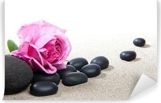 Ambiance zen - rose et pierres noires Vinyl Wall Mural