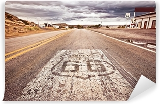 An old Route 66 shield painted on road Vinyl Wall Mural