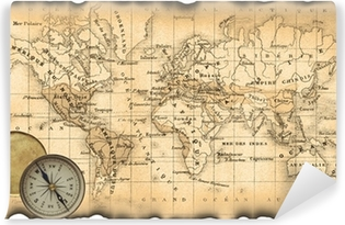 Ancient map of the world  Compass Canvas Print • Pixers® - We live