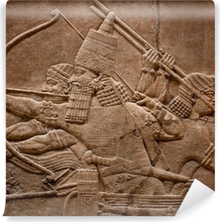 Ancient relief of assyrian warriors fighting in the war Vinyl Wall Mural