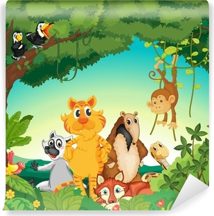 Animals in the forest Vinyl Wall Mural