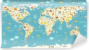 Animals world map beautiful cheerful colorful vector illustration animals world map beautiful cheerful colorful vector illustration for children and kids with the gumiabroncs Images