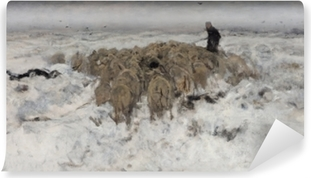 Anton Mauve - Flock of Sheep with Shepherd in the Snow Vinyl Wall Mural