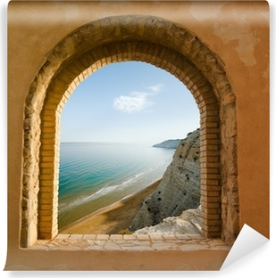 arched window on the coastal landscape of a bay Vinyl Wall Mural