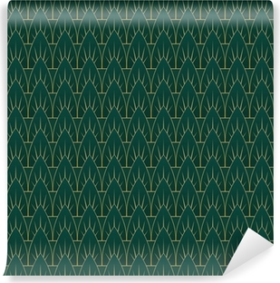 Art Deco Leaves Pattern Vinyl Wall Mural