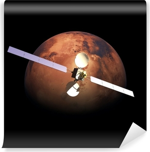 Artificial Probe orbiting above Red Planet Mars Vinyl Wall Mural