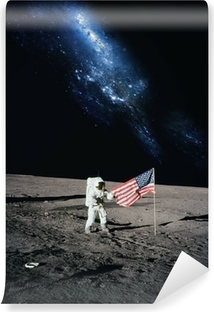 Astronaut walking on moon. Elements of this image furnished by N Vinyl Wall Mural
