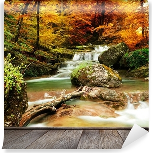 Autumn creek woods with yellow trees Vinyl Wall Mural