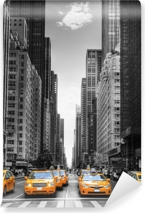 Avenue avec des taxis à New York. Vinyl Wall Mural