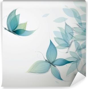 Azure Flowers like Butterflies / Surreal sketch Vinyl Wall Mural