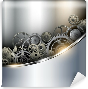 Background metallic with technology gears Vinyl Wall Mural