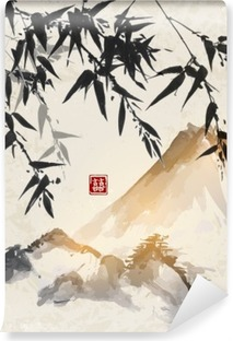 Bamboo and mountains. Traditional Japanese ink painting sumi-e. Contains hieroglyph - double luck. Vinyl Wall Mural