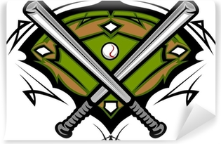 baseball or softball crossed bats with ball image template wall