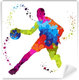 basket ball player with colored dots Vinyl Wall Mural