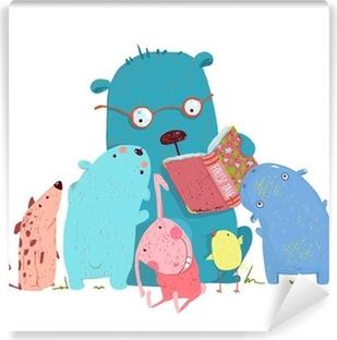 Bear Reading Book for Group of Animal Kids Vinyl Wall Mural