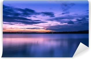 beautiful Evening sky clouds with sunset on the lake. Vinyl Wall Mural