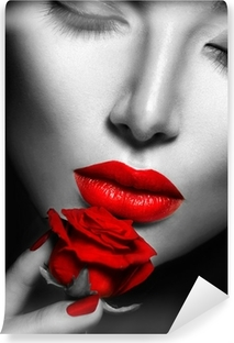 Beautiful sexy woman with red lips, nails and rose flower Vinyl Wall Mural