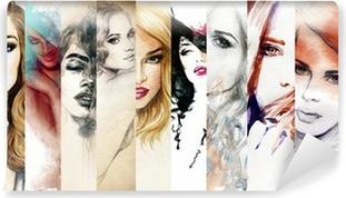 Beautiful woman face. watercolor illustration Vinyl Wall Mural