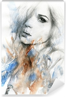 Beautiful woman. watercolor illustration Vinyl Wall Mural