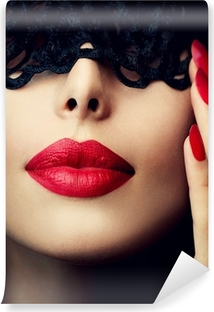 Beautiful Woman with Black Lace Mask over her Eyes Vinyl Wall Mural