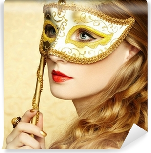 Beautiful young woman in mysterious golden Venetian mask Vinyl Wall Mural b3661232705