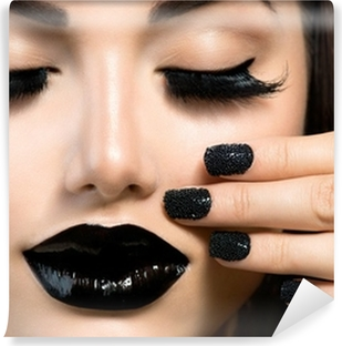 Beauty Fashion Girl with Trendy Caviar Black Manicure and Makeup Vinyl Wall Mural