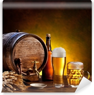 Beer barrel with beer glasses on a wooden table. Vinyl Wall Mural