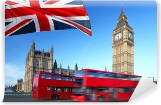 Big Ben with city bus and flag of England, London Vinyl Wall Mural