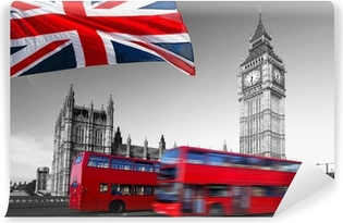 Big Ben with city buses and flag of England, London Vinyl Wall Mural