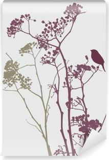 bird on meadow flowers Vinyl Wall Mural