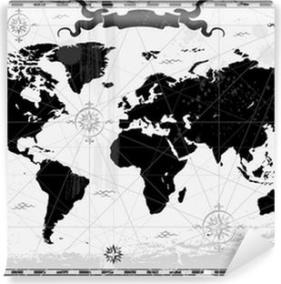black ancient world map vinyl wall mural